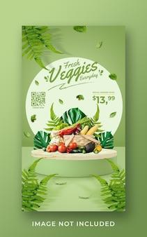 Modello di banner di storia di instagram di social media di promozione della drogheria di verdure fresche e sane