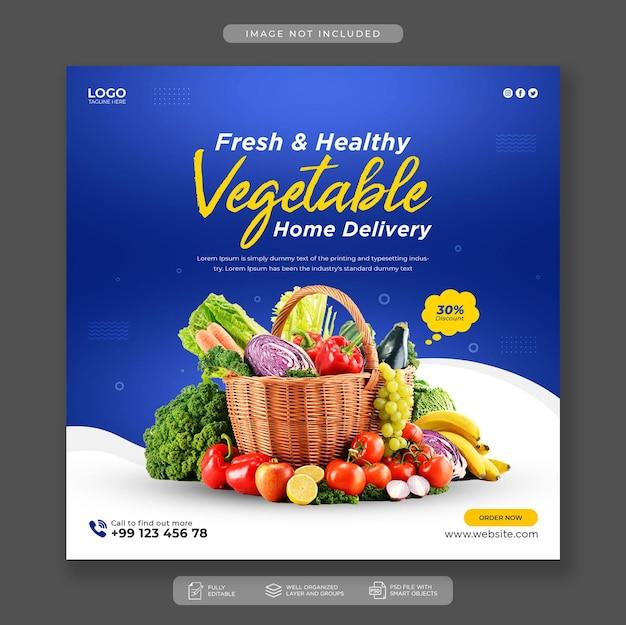 Modello di post di instagram di social media di verdure fresche e sane