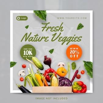 Modello di banner o post sui social media per la promozione del negozio di verdure fresche e sane