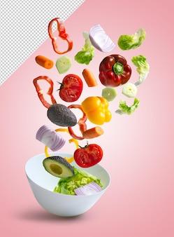 Verdure miste fresche che cadono in una ciotola di rendering di insalata
