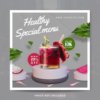 Modello di banner o post sui social media per la promozione del menu di bevande con succo di natura fresca