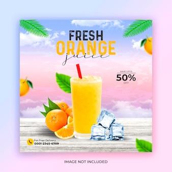 Modello di post sui social media con succo d'arancia fresco