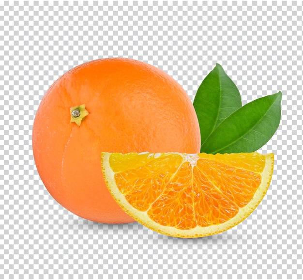 Arancia fresca con foglie