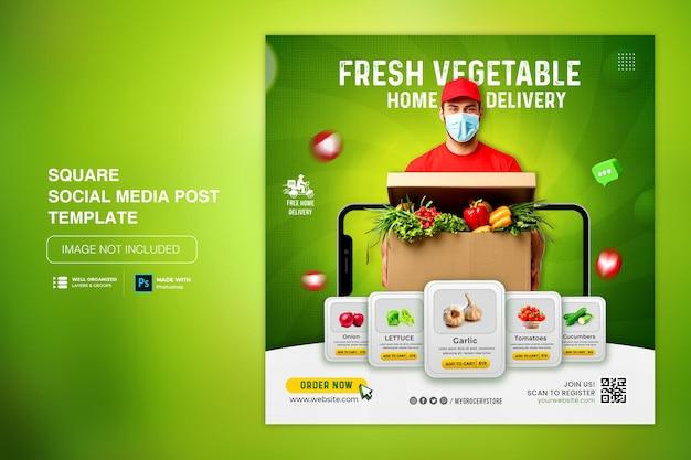Modello di post sui social media di instagram di consegna di verdura biologica fresca