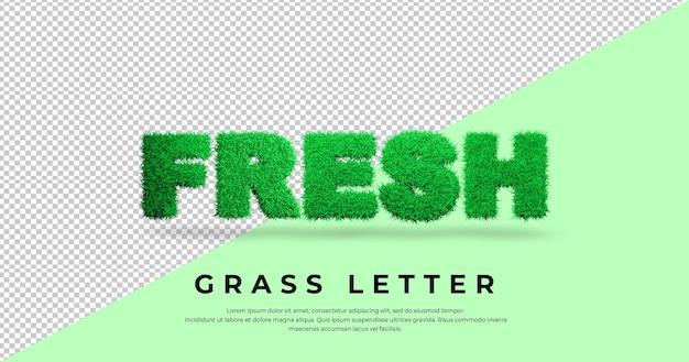 Effetto di testo fresco con erba 3d