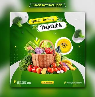 Consegna di generi alimentari di frutta e verdura fresca modello di post sui social media di instagram psd premium