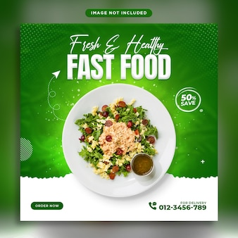 Promozione sui social media di verdure fresche e modello di progettazione di banner per instagram