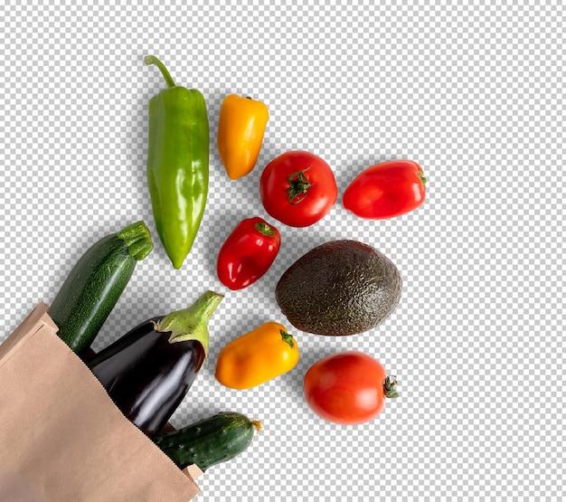 Verdure fresche in un sacchetto di carta riciclabile isolato