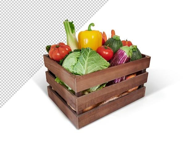 Verdure fresche in una scatola di legno, mockup