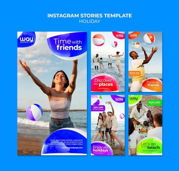 Modello di storie di instagram per le vacanze di amici