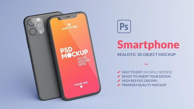 Mockup di telefono cellulare anteriore e posteriore nel rendering 3d