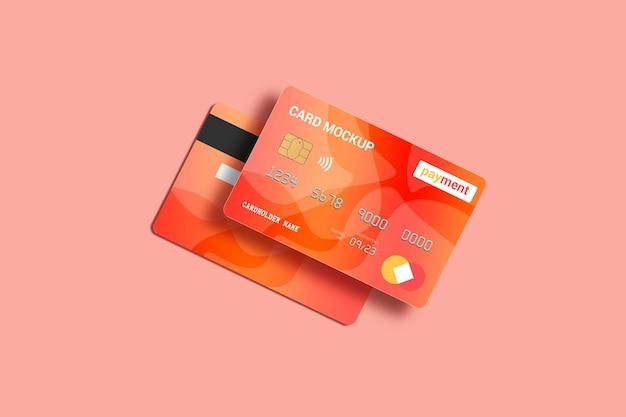 Mockup di carta di debito smart card vista anteriore e posteriore