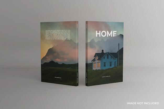 Viste anteriore e posteriore del mockup del libro con copertina morbida in piedi
