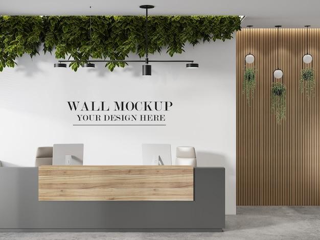 Mockup della parete della reception per il logo aziendale o il nome del marchio
