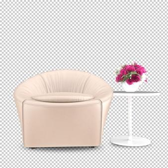 Vista frontale della poltrona in rendering 3d