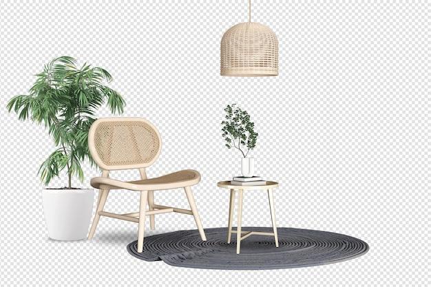 Vista frontale della poltrona e della pianta nella rappresentazione 3d