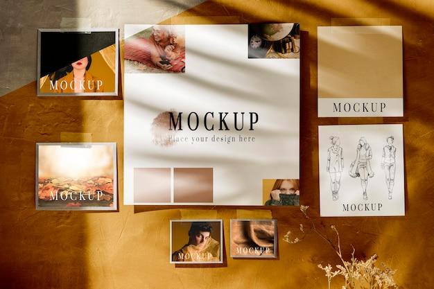 Vista frontale del mock-up moodboard autunnale