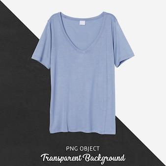 Vista frontale del mockup di maglietta blu