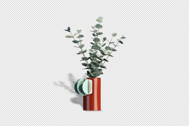 Mazzo di fiori di vista frontale in un vaso nel rendering 3d