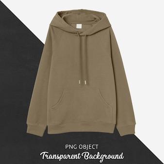 Vista frontale del mockup di felpa con cappuccio marrone