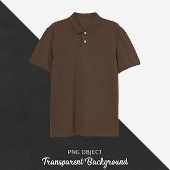 Vista frontale del mockup di maglietta polo marrone