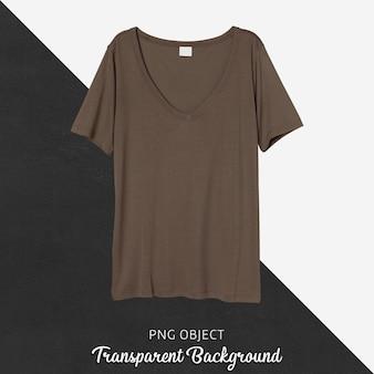 Vista frontale del mockup di maglietta marrone