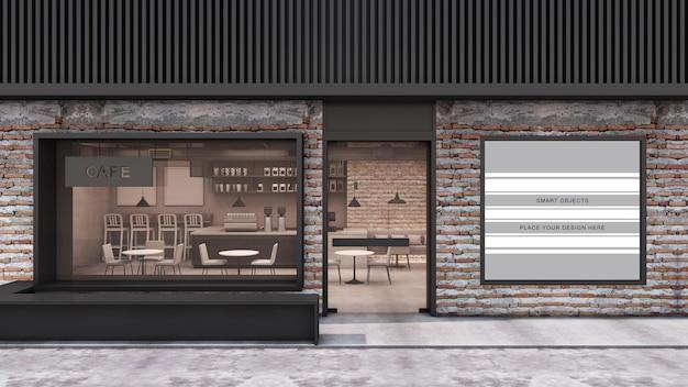 Vista frontale cafe shop modern and loft restaurant design 3d render