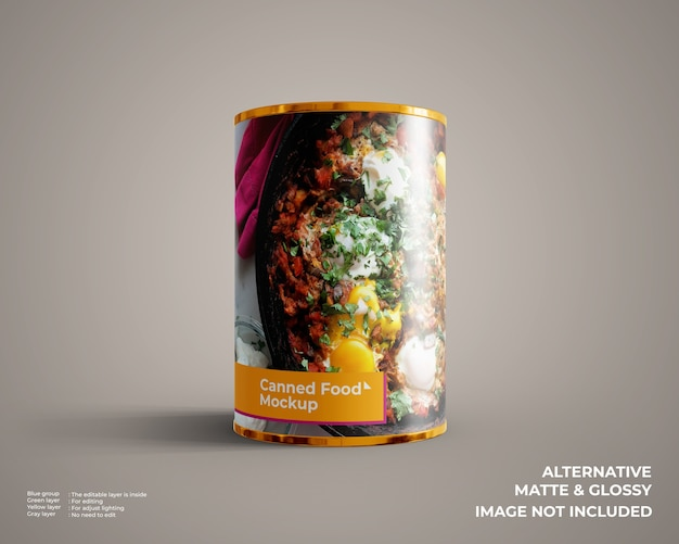 Vista frontale sul mockup di cibo in scatola isolato