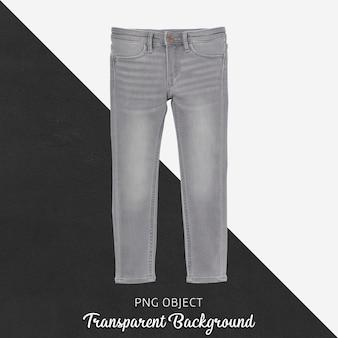 Vista frontale del mockup di jeans grigio per bambini