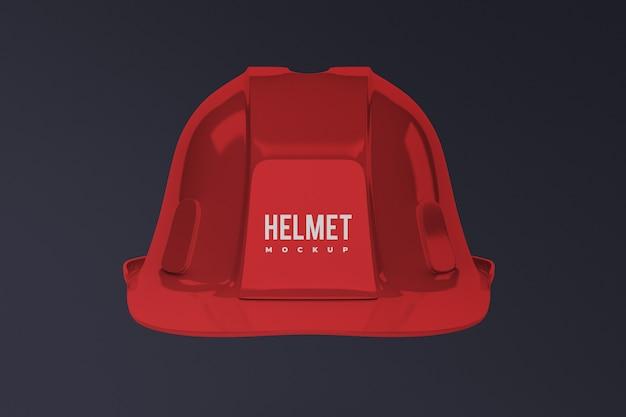Vista frontale del mockup del casco da costruzione isolato