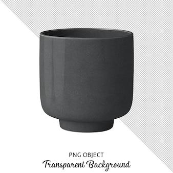 Vista frontale del vaso grigio scuro isolato