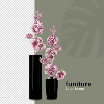 Cestino di fiori di vista frontale nella rappresentazione 3d