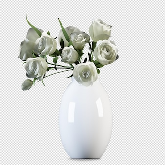 Fiori di vista frontale in vaso rendering 3d isolato