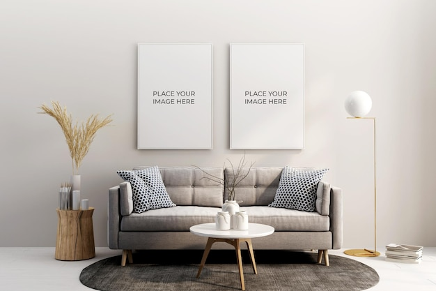 Vista frontale di cornici e design di mockup di divani in 3d