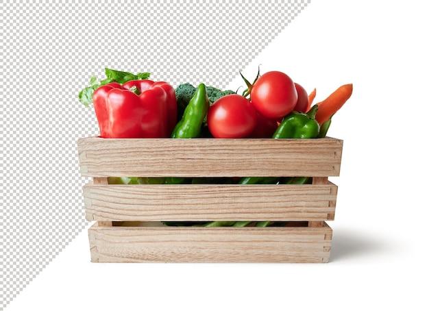 Verdura fresca vista frontale in scatola di legno, mockup