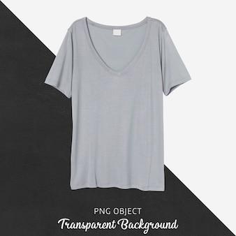 Vista frontale del mockup di tshirt base grigia
