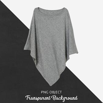 Vista frontale del mockup di poncho donna grigia