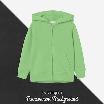 Vista frontale del mockup di felpa con cappuccio per bambini verde