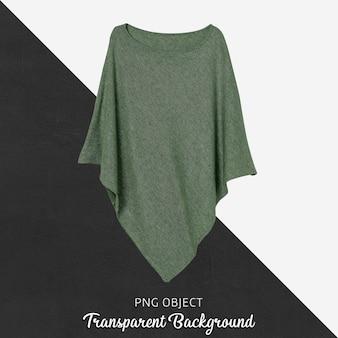 Vista frontale del mockup di poncho donna verde