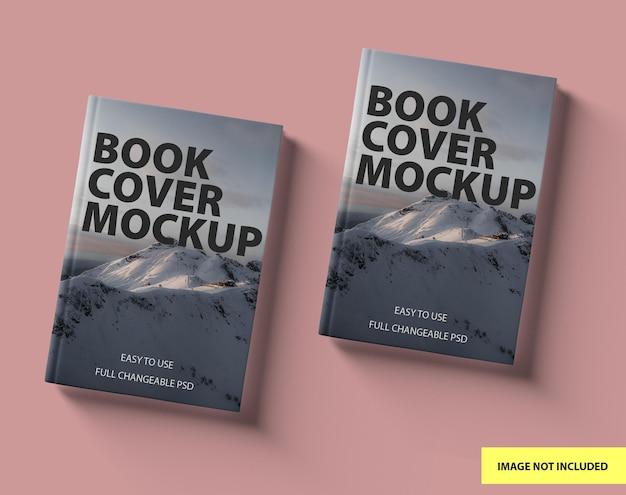 Set di mockup di libri con copertina rigida vista frontale