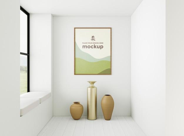 Disposizione interna minimalista vista frontale con cornice mock-up