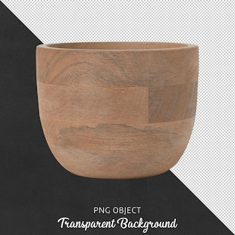 Vista frontale del vaso in legno naturale isolato