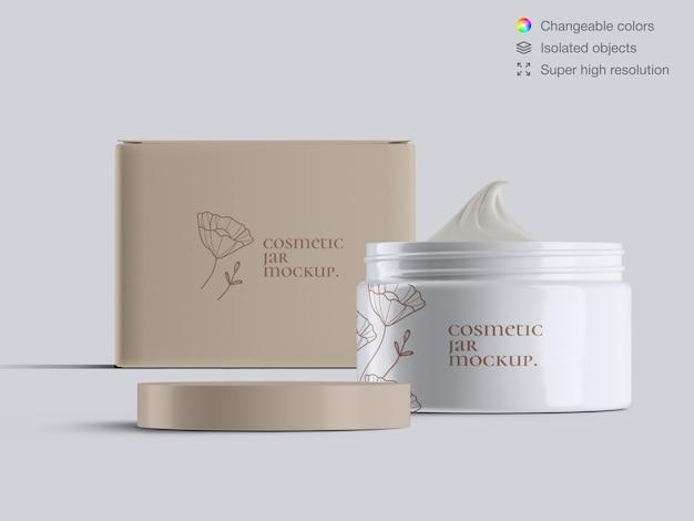 La vista frontale ha aperto il modello cosmetico di plastica del modello del barattolo e della crema della crema per il viso