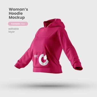 Vista frontale del mockup di felpa con cappuccio da donna personalizzabile premium