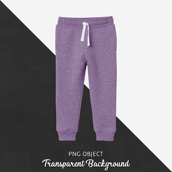 Vista frontale del mockup di pantaloni della tuta viola