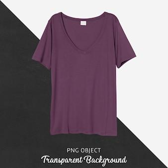 Vista frontale del mockup di maglietta viola