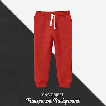 Vista frontale del mockup di pantaloni della tuta per bambini rossi