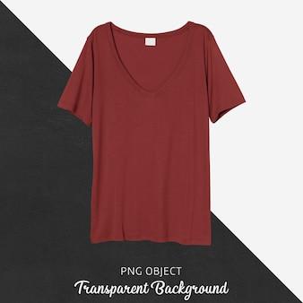 Vista frontale del mockup di maglietta rossa