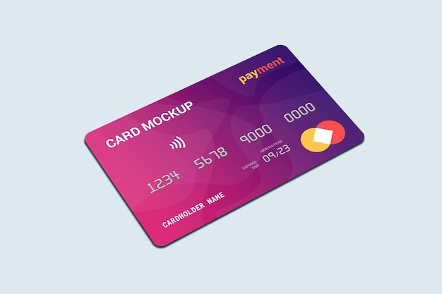 Mockup di carta di debito smart card vista frontale