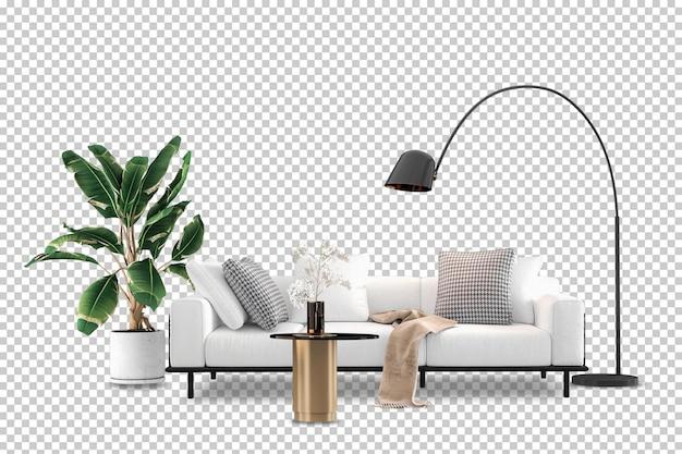 Vista frontale del divano in rendering 3d